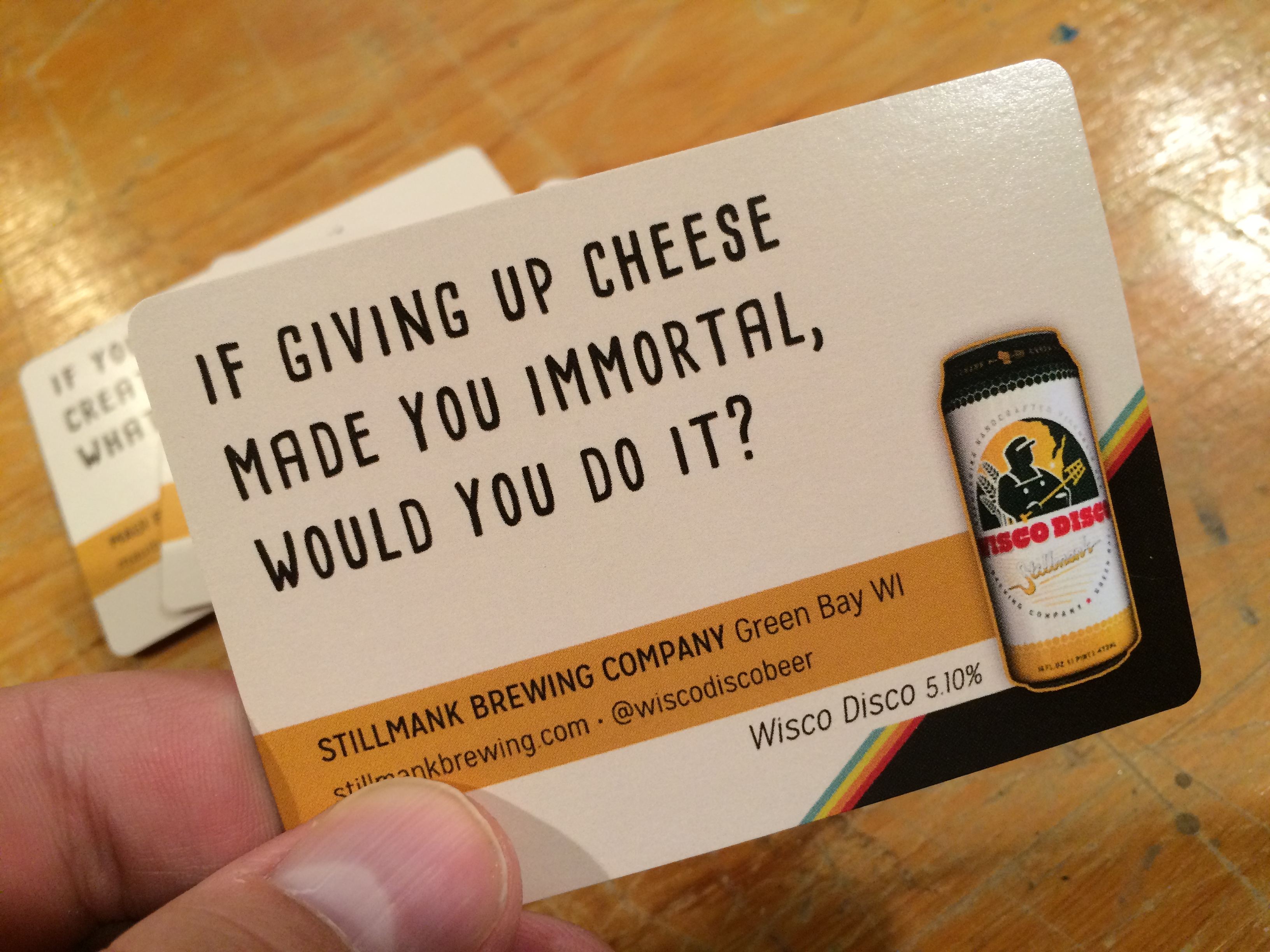 Sample cards thinking drinking if giving up cheese made you immortal would you do it stillmank brewing companys wisco disco is featured reheart Gallery